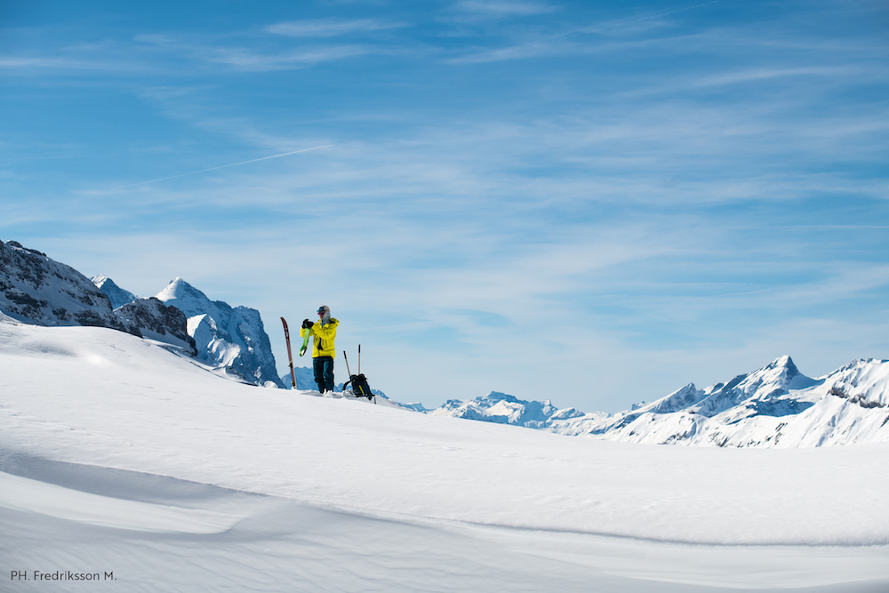 Kilian Echallier ski touring in Engelberg, Switzerland. Ph. Fredriksson M.